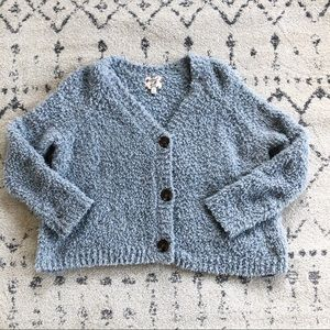 Free People Hippie Rose Blue Buttoned Cardigan
